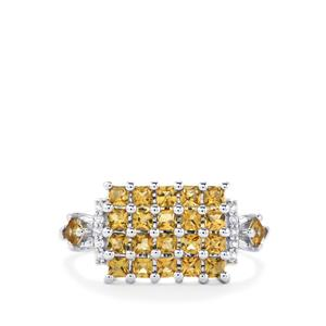 Yellow Tourmaline & White Topaz Sterling Silver Ring ATGW 1.04cts