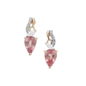Padparadscha Sapphire Earrings with White Zircon in 9K Gold 1.18cts