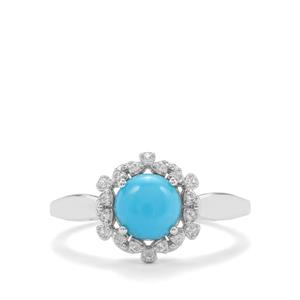 Sleeping Beauty Turquoise Ring with White Topaz in Sterling Silver 1.35cts