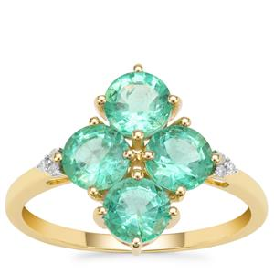 Ethiopian Emerald Ring with Diamond in 9K Gold 1.98cts