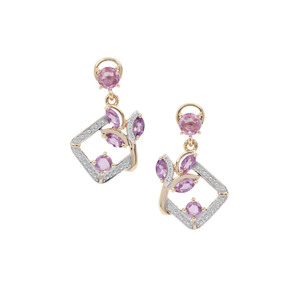 Rose Cut Rose Cut Purple Sapphire, Zambian Amethyst Earrings with White Zircon in 9K Gold 1.34cts