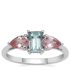 Cherry Blossom™ Morganite Ring with Aquaiba™ Beryl in 9K White Gold 1.20cts