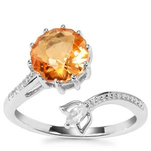 Lotus Cut Padparadscha Quartz Ring with White Zircon in Sterling Silver 2cts