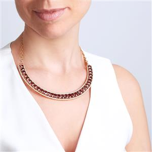 Bekily Colour Change Garnet Necklace with White Diamond in 18K Gold 54.72cts