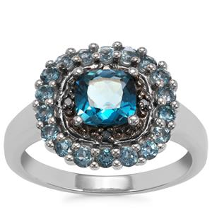 Marambaia London BlueTopaz Ring with Blue Diamond in Sterling Silver 2.08cts