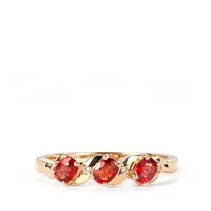 Winza Ruby Ring with White Zircon in 10K Gold 0.66ct