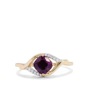 Moroccan Amethyst & White Zircon 10K Gold Ring ATGW 1cts