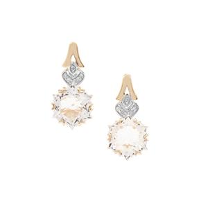 Wobito Snowflake Cut Itinga Petalite Earrings with Diamond in 9K Gold 3.86cts
