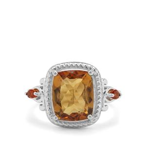 Golden Tanzanian Scapolite & Diamantina Citrine Sterling Silver Ring ATGW 3.67cts