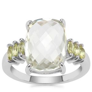 Prasiolite Ring with Changbai Peridot in Sterling Silver 6.30cts