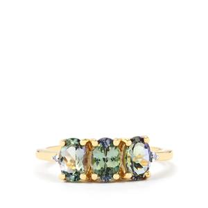 Bi-Color Tanzanite Ring with Diamond in 10k Gold 1.78ct