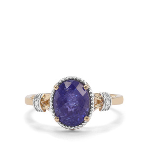 AAA Tanzanite Ring with Diamond in 9K Gold 2.46cts