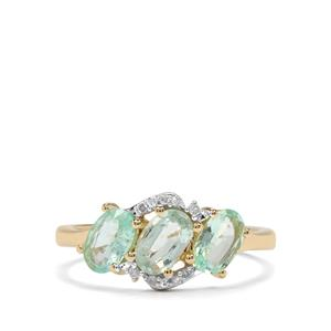 Paraiba Tourmaline Ring with Diamond in 10K Gold 1.19cts