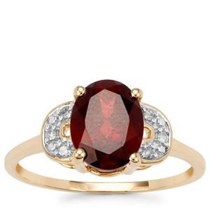 Rhodolite Garnet Ring with Diamond in 9K Gold 2.20cts