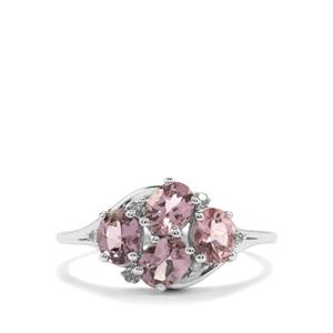 Mahenge Pink Spinel Ring with Diamond in 10K White Gold 1.52cts