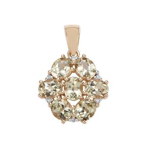 Csarite® Pendant with Diamond in 10k Gold 2.62cts