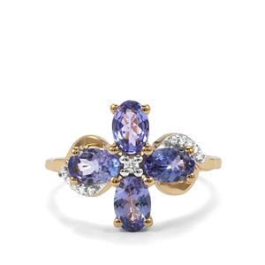 AA Tanzanite & White Zircon 9K Gold Ring ATGW 1.98cts