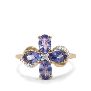 AA Tanzanite Ring with White Zircon in 10K Gold 1.98cts