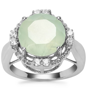 Prehnite Ring with White Zircon in Sterling Silver 7.16cts