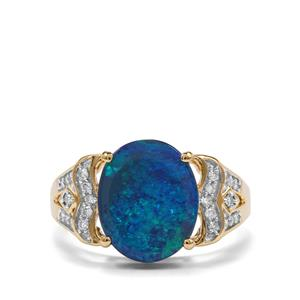 Crystal Opal on Ironstone & Diamond 18K Gold Lorique Ring