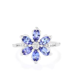 Tanzanite Ring with White Topaz in Sterling Silver 1.63cts