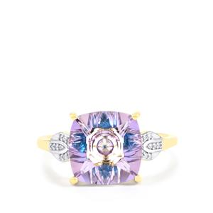 Lehrer KaleidosCut Rose Topaz, Neon Apatite Ring with Diamond in 9K Gold 4.07cts