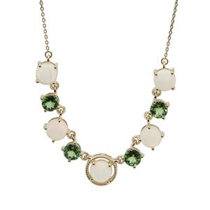 Ethiopian Opal Necklace with Tsavorite Garnet in 9K Gold 4.45cts