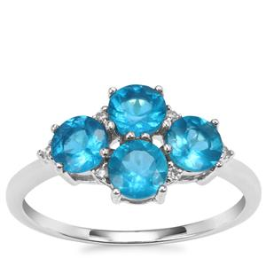 Neon Apatite Ring with Diamond in 10K White Gold 1.59cts