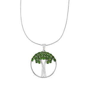Chrome Diopside Pendant Necklace in Platinum Plated Sterling Silver 4.56cts