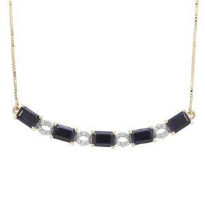 Ethiopian Blue Sapphire Necklace with White Zircon in 9K Gold 4.08cts