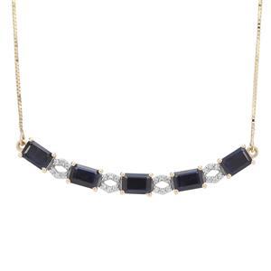 Ethiopian Blue Sapphire & White Zircon 9K Gold Tomas Rae Necklace ATGW 4.08cts