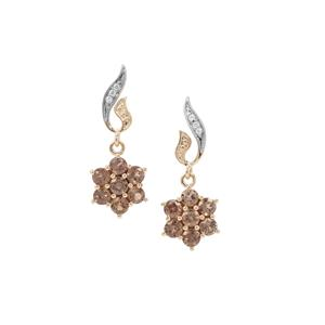 Miova Loko Garnet Earrings with White Zircon in 9K Gold 1.50cts
