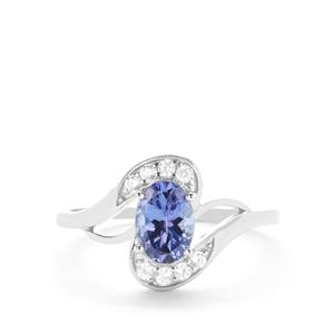 AA Tanzanite Ring with White Zircon in 9K White Gold 0.98ct