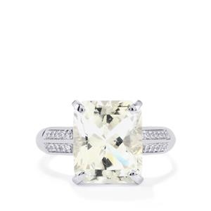 Optic Quartz Ring with White Topaz in Sterling Silver 5.54cts
