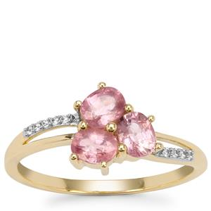 Padparadscha Sapphire Ring with White Zircon in 9K Gold 1.15cts