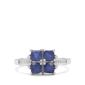 Burmese Blue Sapphire Ring with White Zircon in Sterling Silver 1.85cts