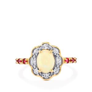 Coober Pedy Opal, Cruzeiro Rubellite Ring with White Zircon in 10k Gold 1.19cts