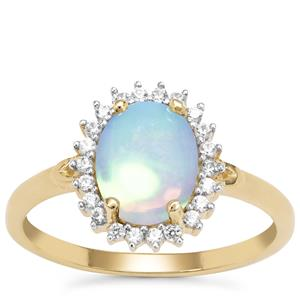 Kelayi Opal Ring with White Zircon in 9K Gold 1.24cts