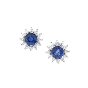 Daha Kyanite Earrings with White Zircon in Sterling Silver 1.81cts