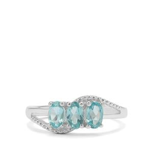 Madagascan Blue Apatite Ring in Sterling Silver 1cts