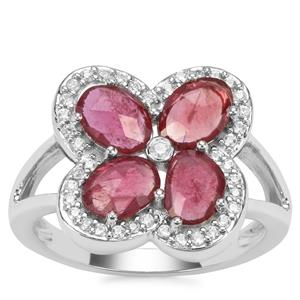 Malagasy Ruby Ring with White Zircon in Sterling Silver 2.40cts (F)