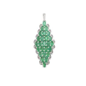 Zambian Emerald Pendant in Sterling Silver 5.75cts