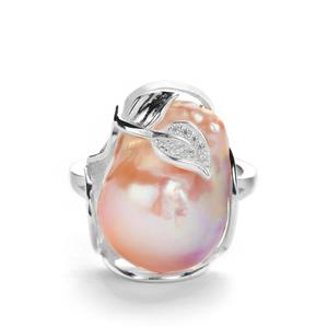 Baroque Cultured Pearl & White Topaz Sterling Silver Ring (18mm x 13mm)