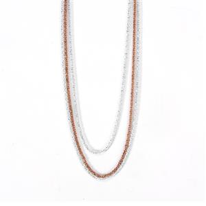 """18""""-19"""" Two Tone Sterling Silver 3 Strand Necklace"""