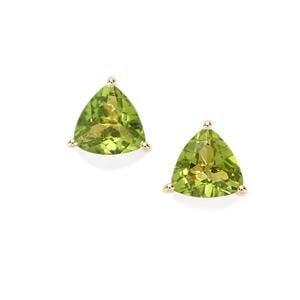 Changbai Peridot Earrings in 10K Gold 3.78cts
