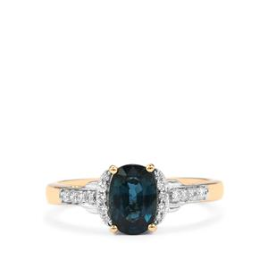 Nigerian Blue Sapphire Ring with Diamond in 18K Gold 1.41cts