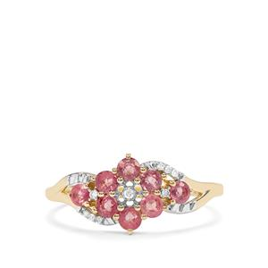 Padparadscha Sapphire Ring with Diamond in 10K Gold 0.76ct