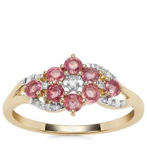 Padparadscha Sapphire Ring with Diamond in 9K Gold 0.76ct