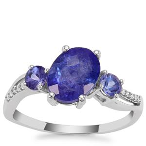 AA Tanzanite Ring with Diamond in 9K White Gold 3.11cts