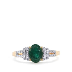 Minas Gerais Emerald Ring with White Diamond in 18k Gold 1.41cts